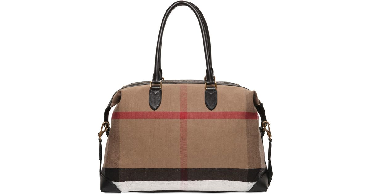 Lyst - Burberry Check Printed Canvas Duffle Bag in Brown 5daa304380