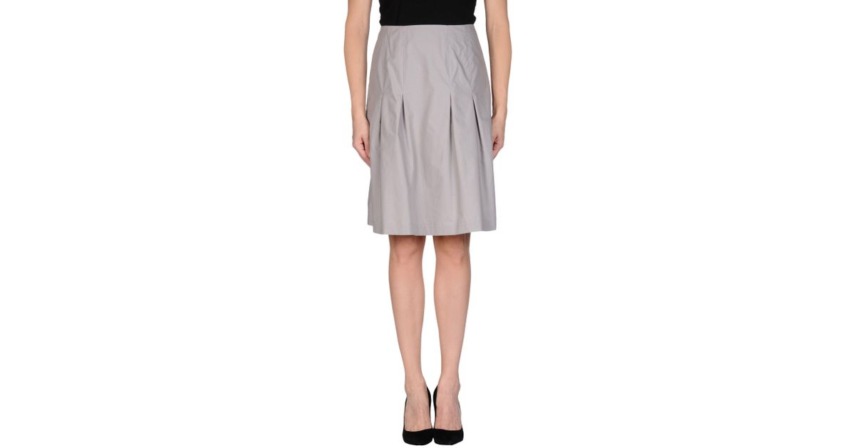 l autre chose knee length skirt in gray grey lyst