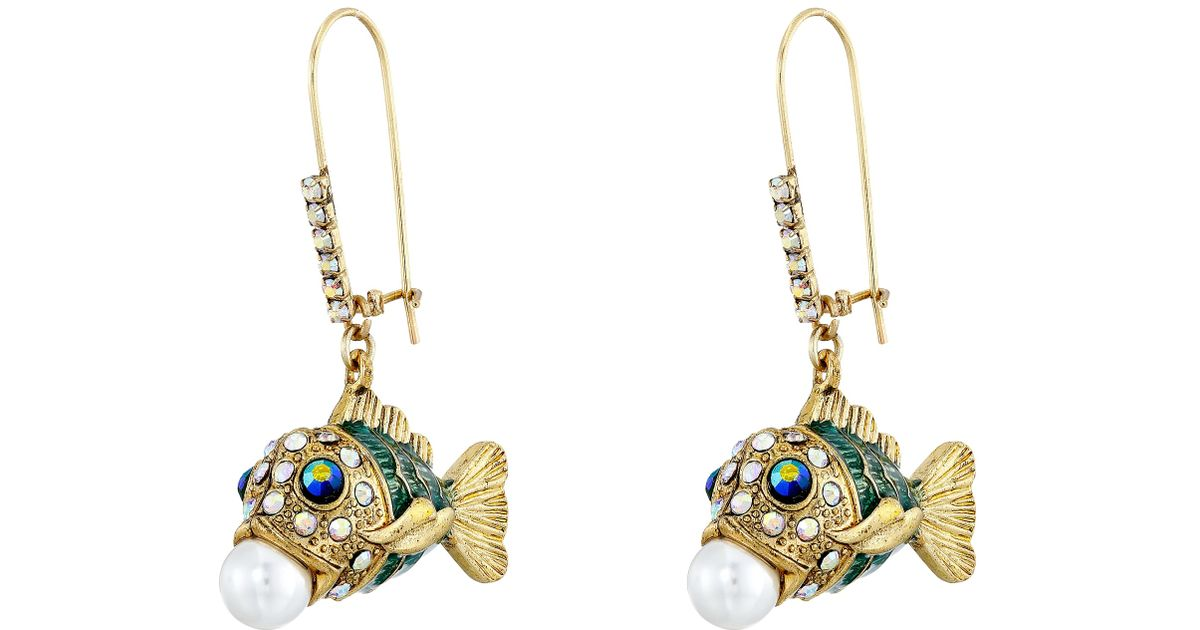 Lyst - Betsey Johnson Into The Blue Fish Pearl Drop Earrings
