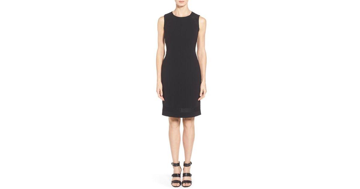 b3d04447 Lyst - Lafayette 148 New York 'pearla' Knit Inset Tech Cloth Sheath Dress  in Black