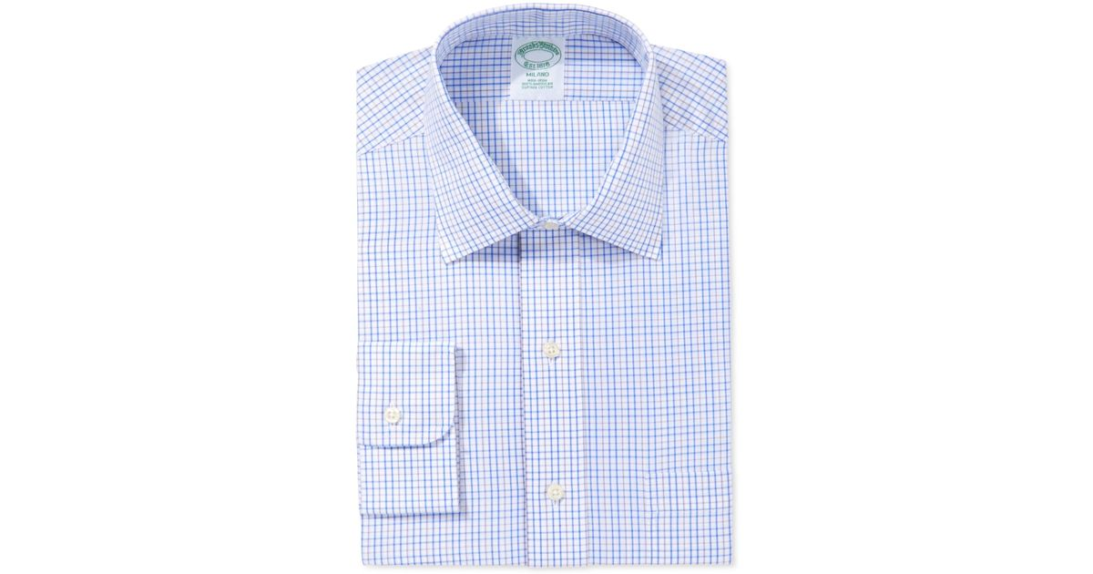 Brooks brothers milano extra slim fit non iron light blue for Lightweight plaid shirt womens