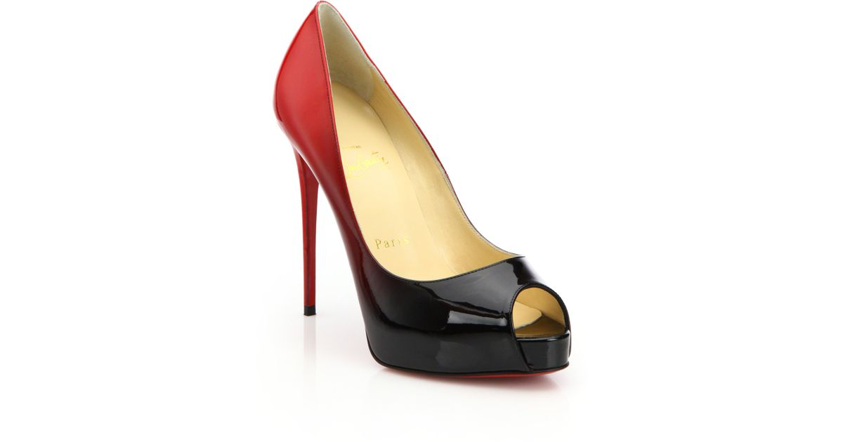 christian laboutain shoes - Christian louboutin Very Prive Ombr�� Patent Leather Peep-toe Pumps ...