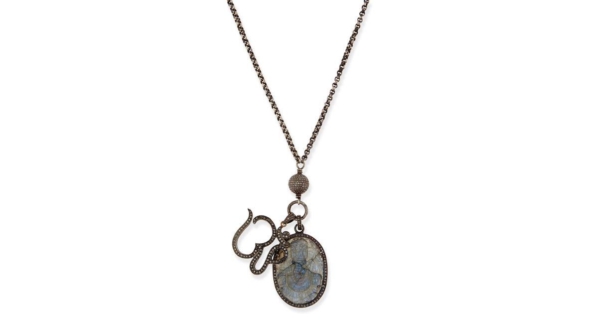 Lyst sheryl lowe carved labradorite pave diamond pendant lyst sheryl lowe carved labradorite pave diamond pendant necklace in black aloadofball Images