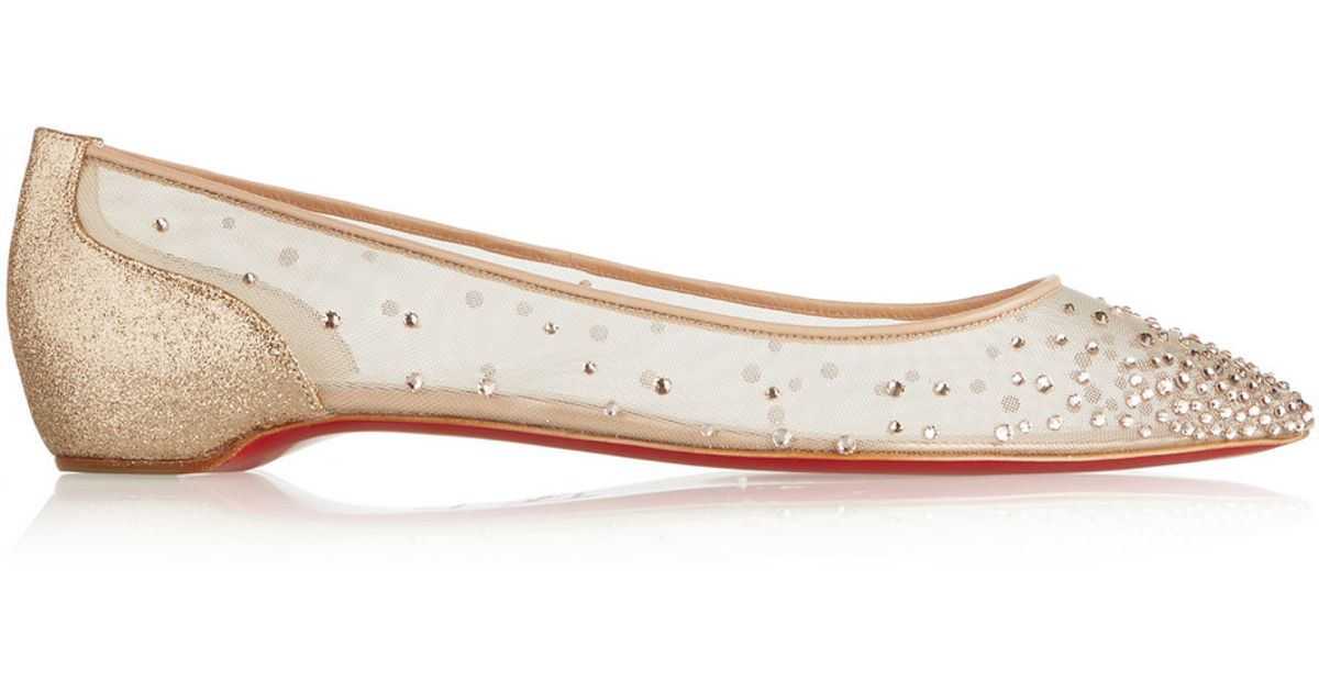 christian louboutin rolling spikes - Christian louboutin Body Strass Embellished Mesh Point-Toe Flats ...
