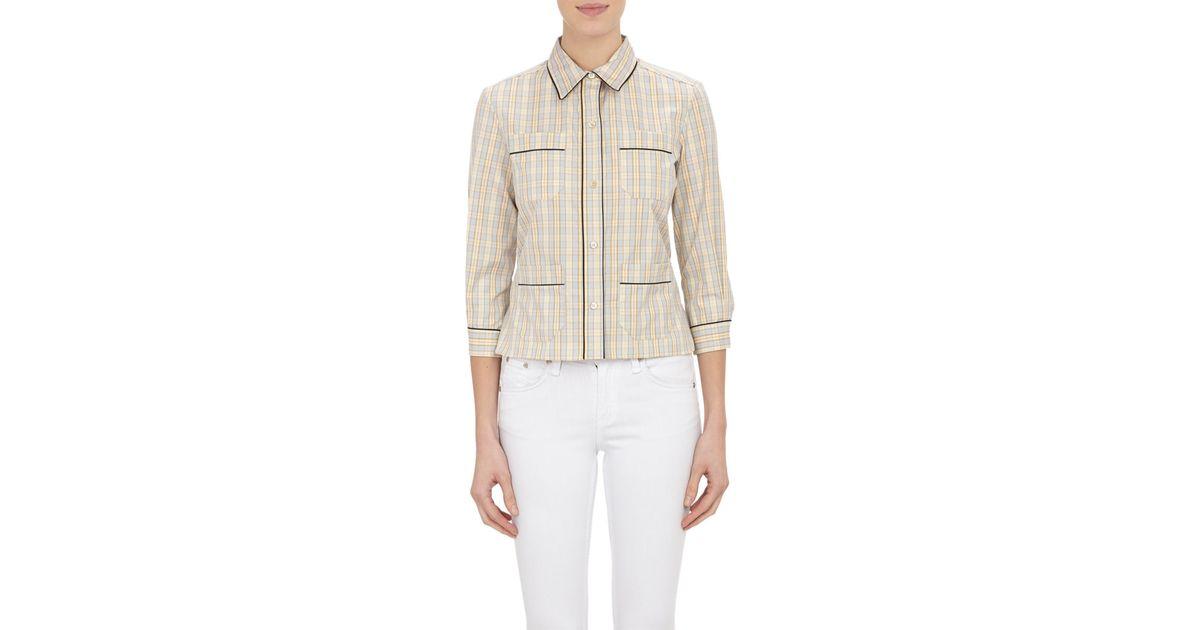Marni women 39 s plaid shirt in gray grey lyst for Grey plaid shirt womens