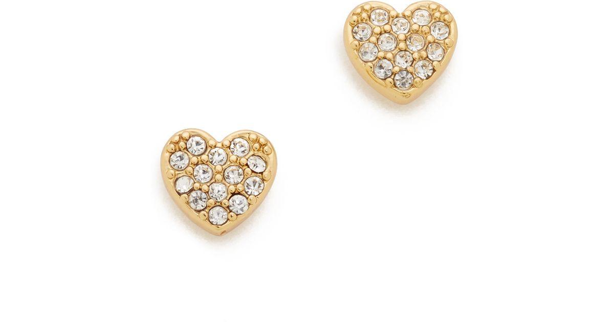 Lyst Kate Spade New York Love List Pave Heart Studs Earrings In Metallic