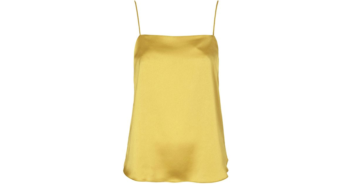 yellow satin cami topshop satin straight neck cami top in yellow lyst 2449