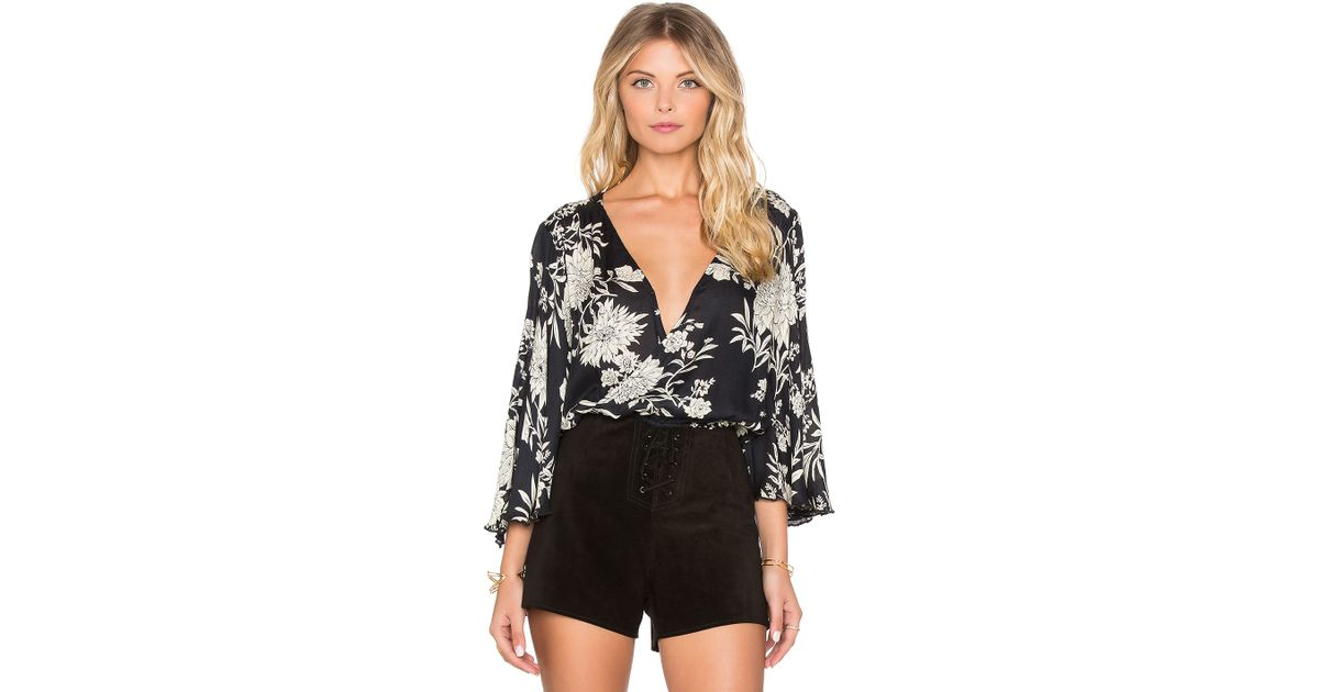 a81008fecd1 Amuse Society Pipa Blouse in Black - Lyst