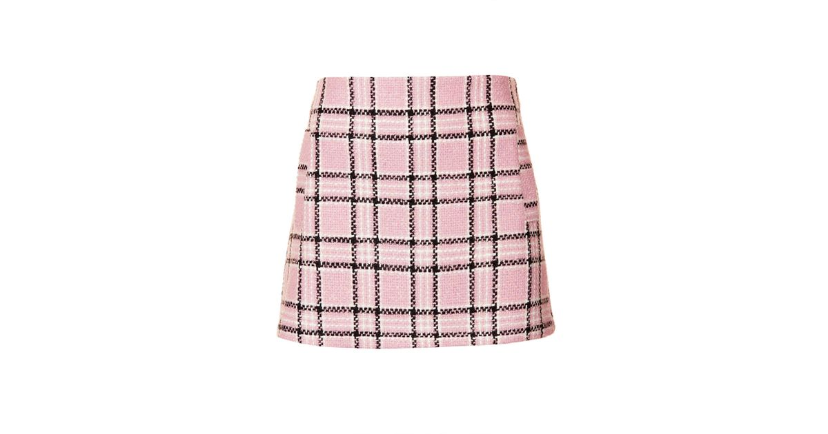 a0072cb33 TOPSHOP Check Boucle Pelmet Skirt in Pink - Lyst