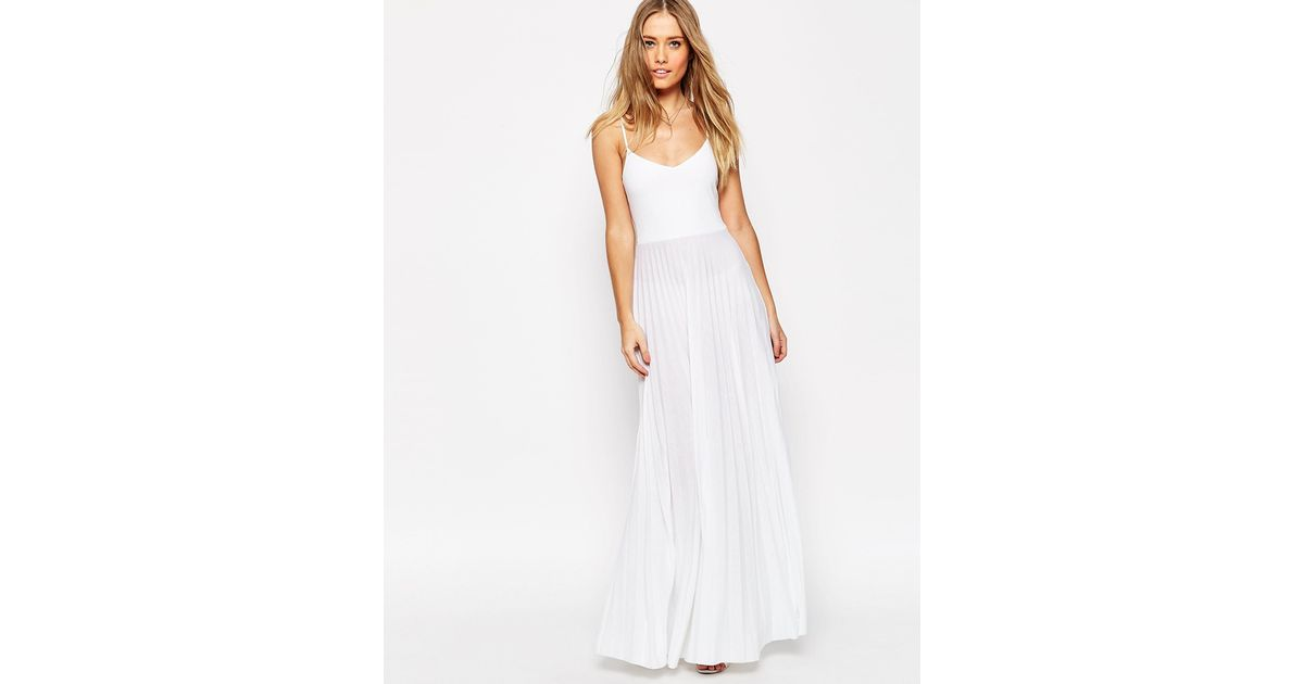 8b77b2e4094a ASOS Cami Maxi Dress With Pleated Skirt in White - Lyst