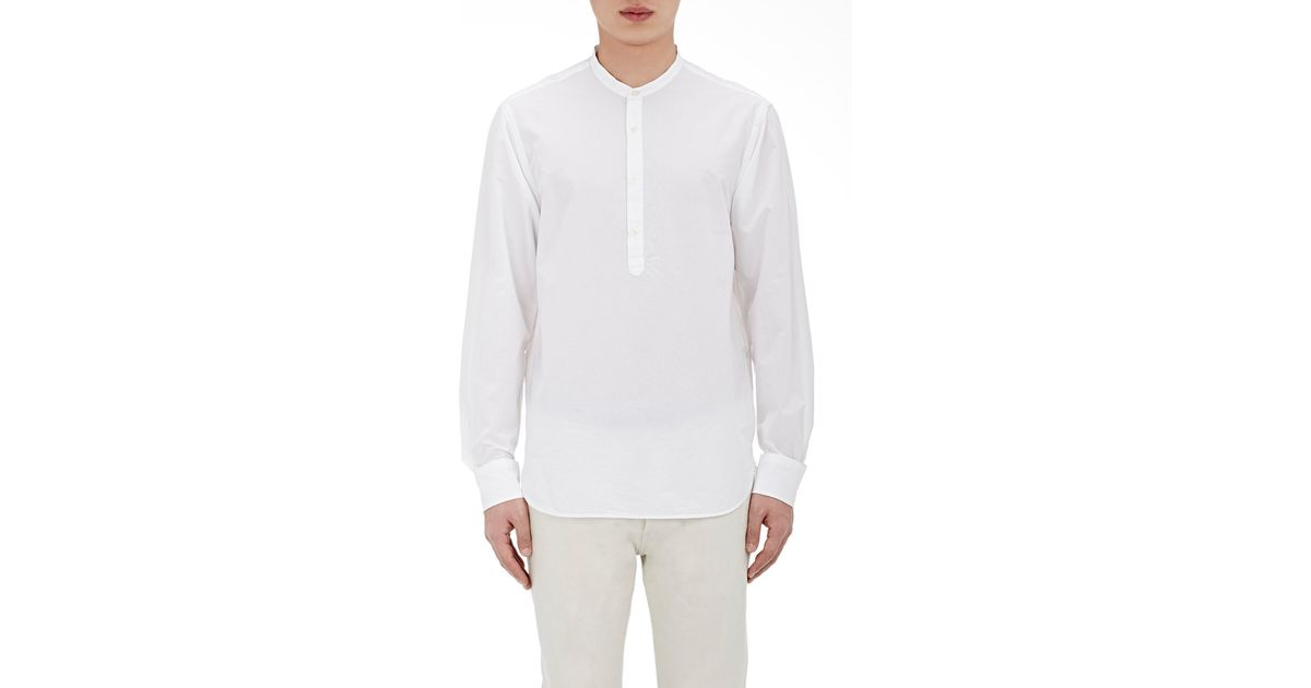 Officine generale seersucker tunic shirt in white for men for Mens seersucker shirts on sale