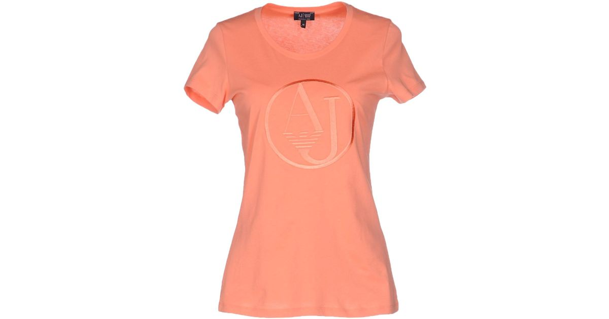 Armani jeans T-shirt in Pink | Lyst