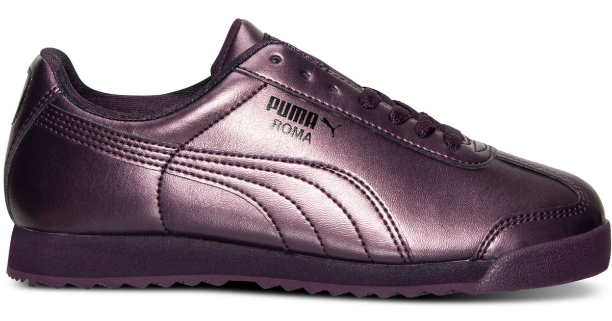 Lyst - PUMA Women s Roma Metallic Casual Sneakers From Finish Line in Purple 32df5a49699a