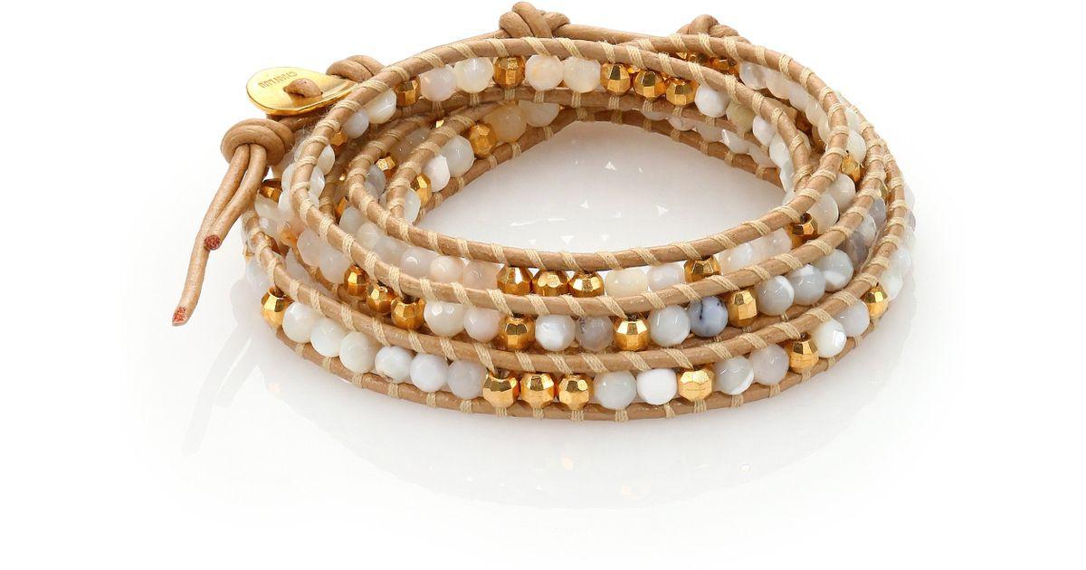 Lyst Chan Luu Mother Of Pearl White Opal Leather Beaded Multi Row Wrap Bracelet In Metallic