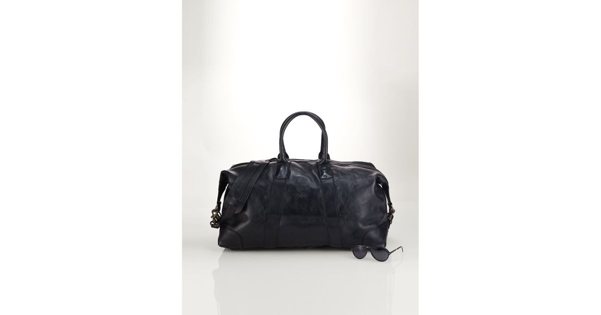 28766577792f ... reduced lyst polo ralph lauren leather duffel bag in black for men  1c862 30565