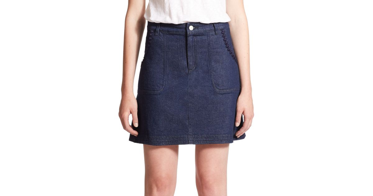 see by chlo 233 embellished denim skirt in blue lyst