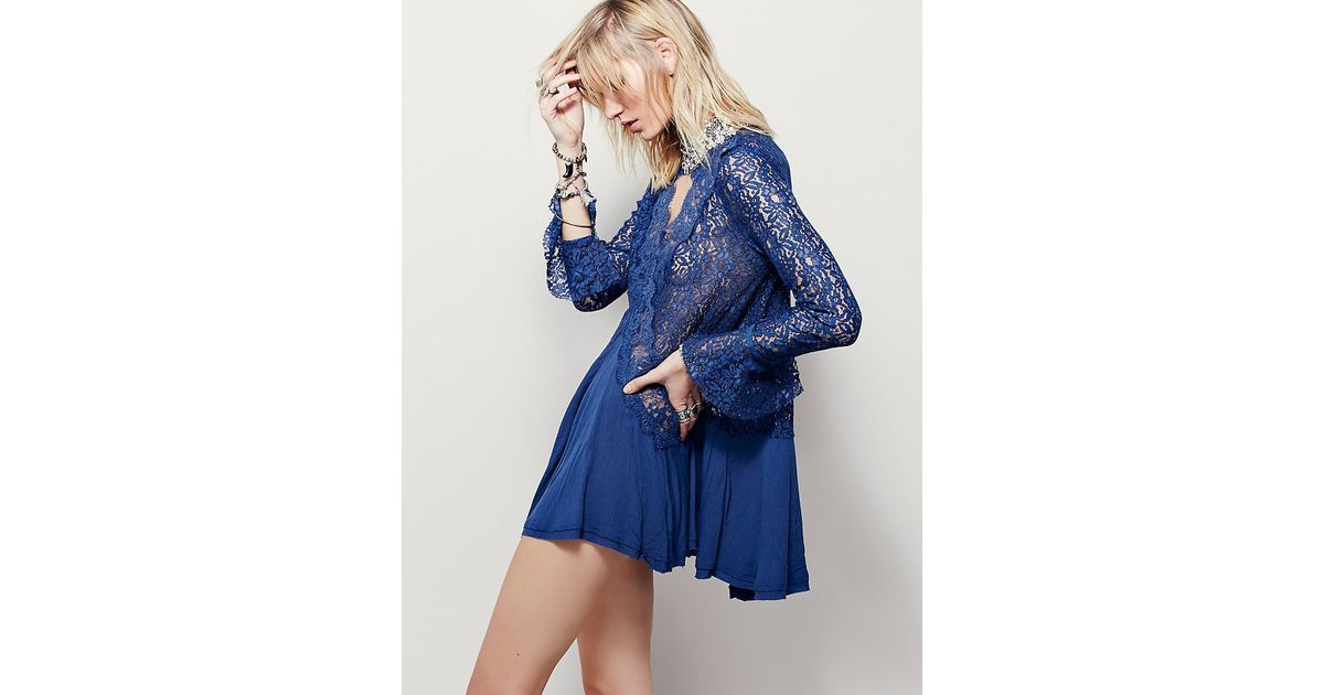 206c2065f62 Free People Secret Origins Pieced Lace Tunic in Blue - Lyst