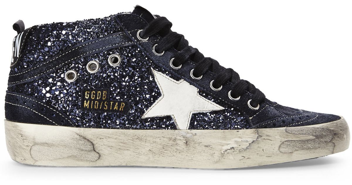 48abe0fc0 Golden Goose Deluxe Brand Blue Glitter Mid Star Sneakers in Blue - Lyst