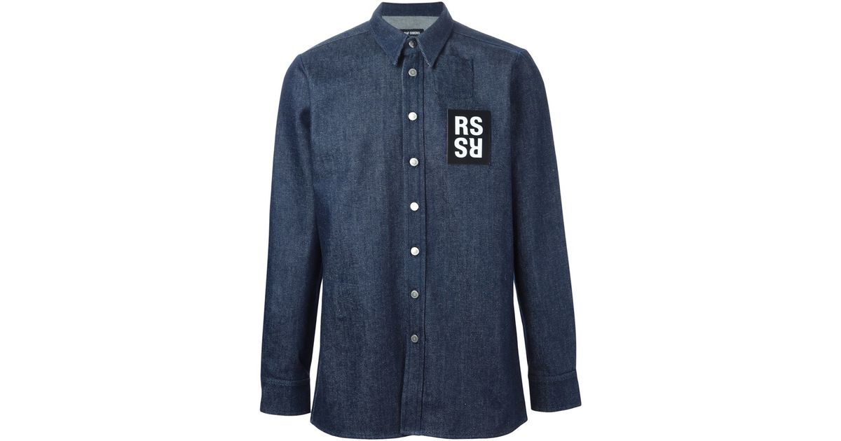 f8ff62536e0 Lyst - Raf Simons Logo Patch Denim Shirt in Blue for Men