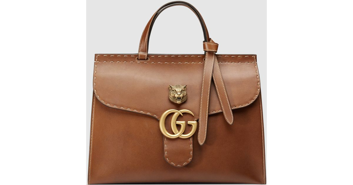 Gucci Gg Marmont Leather Top Handle Bag in Brown - Lyst 5d6645d0e