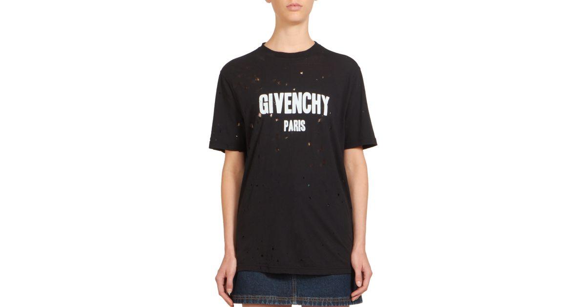 givenchy destroyed t shirt in black lyst. Black Bedroom Furniture Sets. Home Design Ideas