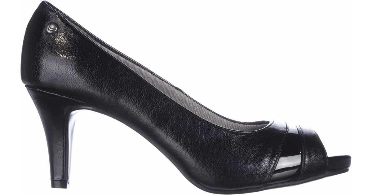 f6f12d192c1 Lyst - LifeStride Tease Peep-toe Kitten Heels in Black