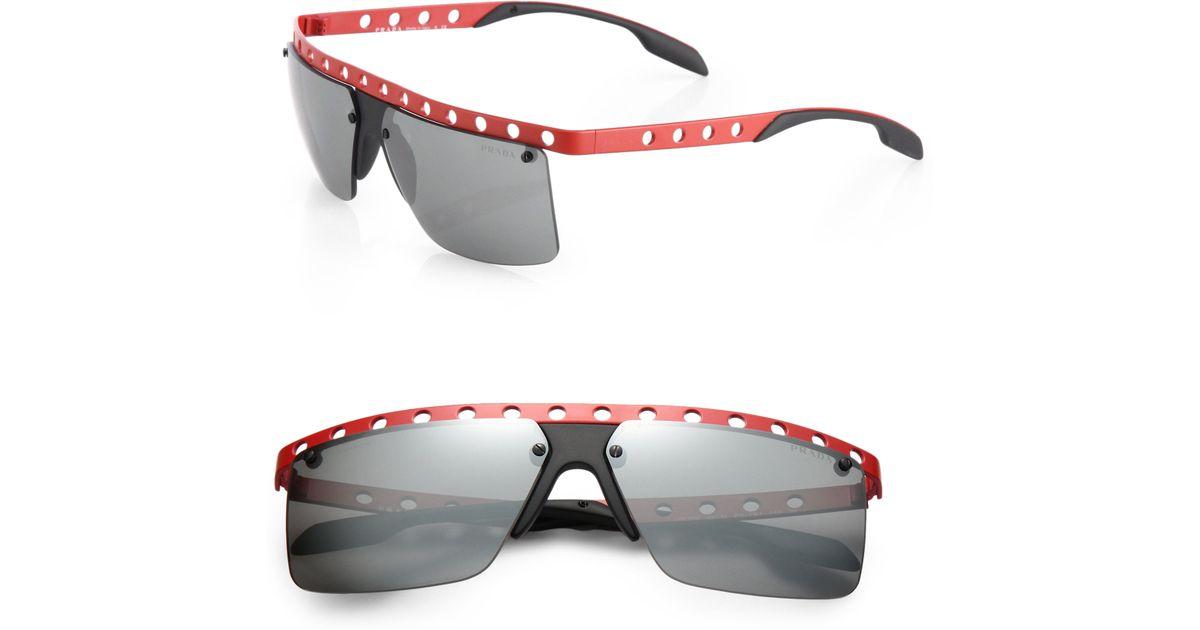 b1b3282824c Lyst - Prada 62mm Perforated Metal Rimless Rectangle Sunglasses in Red for  Men