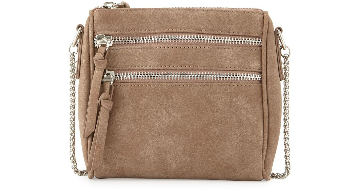 a08d29f54f Lyst - Violet Ray Lizzy Faux-suede Zip Crossbody Bag in Natural
