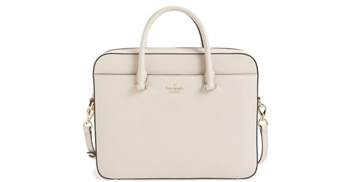 69f00027a299 Lyst - Kate Spade Saffiano Leather 13 Inch Laptop Bag in Natural