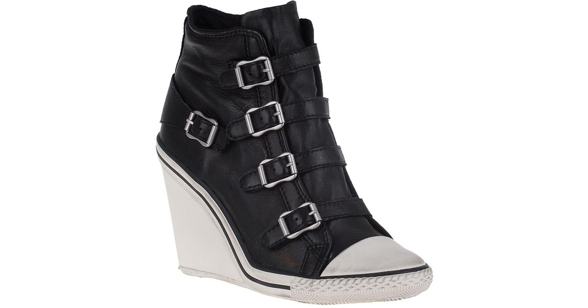 a3282fd0efb Ash Thelma Leather Wedge Sneakers in Black - Lyst