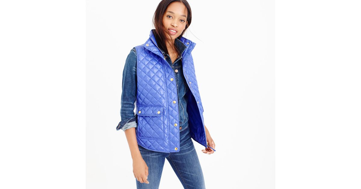 J Crew Shiny Quilted Field Puffer Vest In Blue Regal Blue