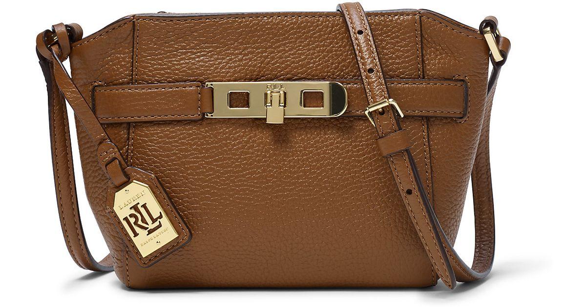 7813766c53 Lyst - Ralph Lauren Darwin Leather Cross-body Bag in Brown