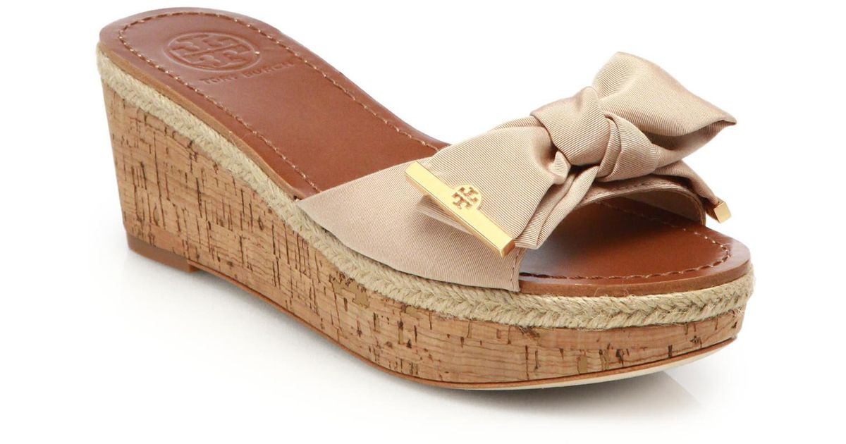 lyst tory burch penny grosgrain cork wedge slides in brown