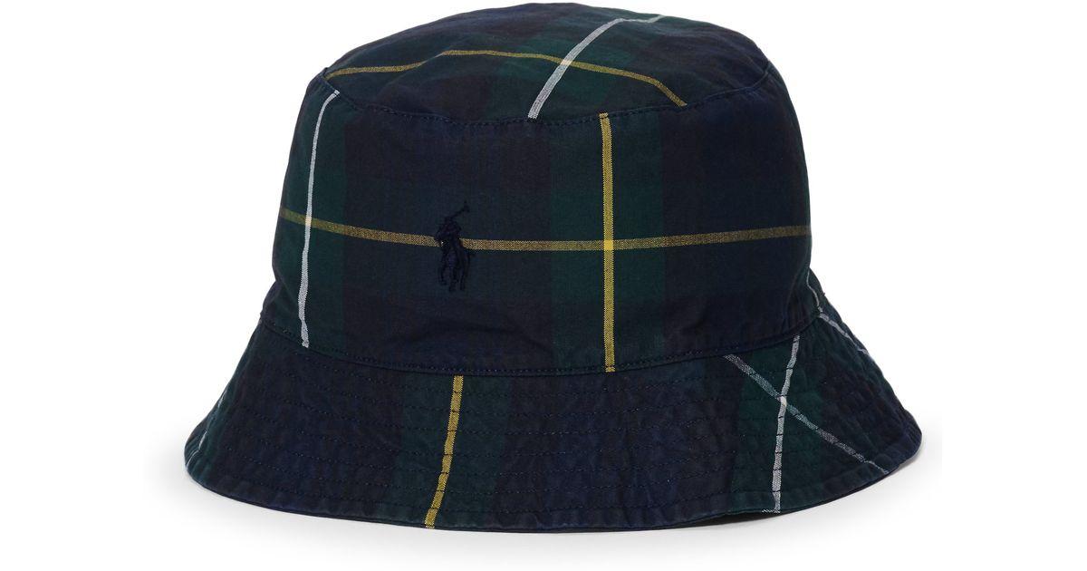 Lyst - Polo Ralph Lauren Tartan Oilcloth Bucket Hat in Black for Men aca0b8959aaf