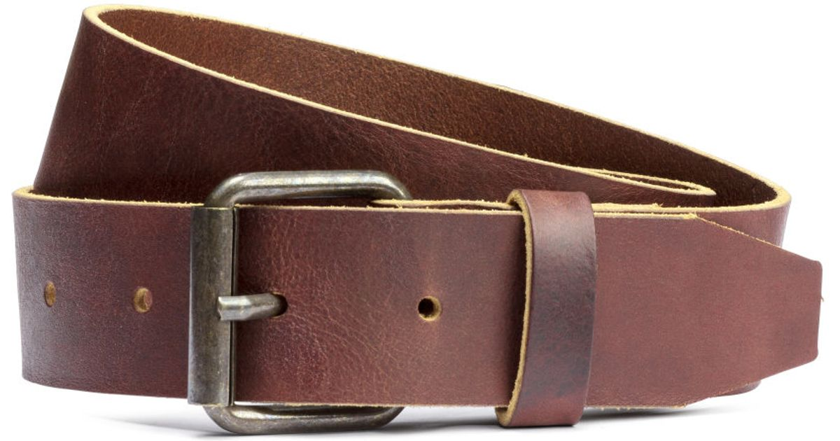 h m leather belt in brown for cognac brown