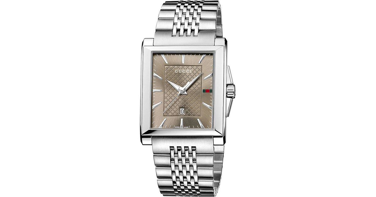 e724a5c51be Gucci Ya138402 G-Timeless Rectangle Quartz Stainless Steel Watch - For Men  in Gray for Men - Lyst