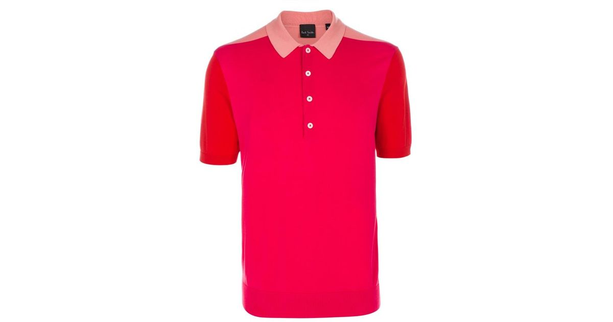 Paul smith Men's Pink Colour-block Knitted Cotton Polo Shirt in ...