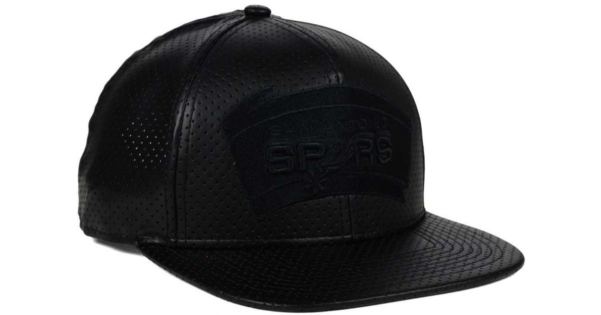 the latest 150af b11b3 Lyst - KTZ San Antonio Spurs Faux Leather 9fifty Snapback Cap in Black for  Men