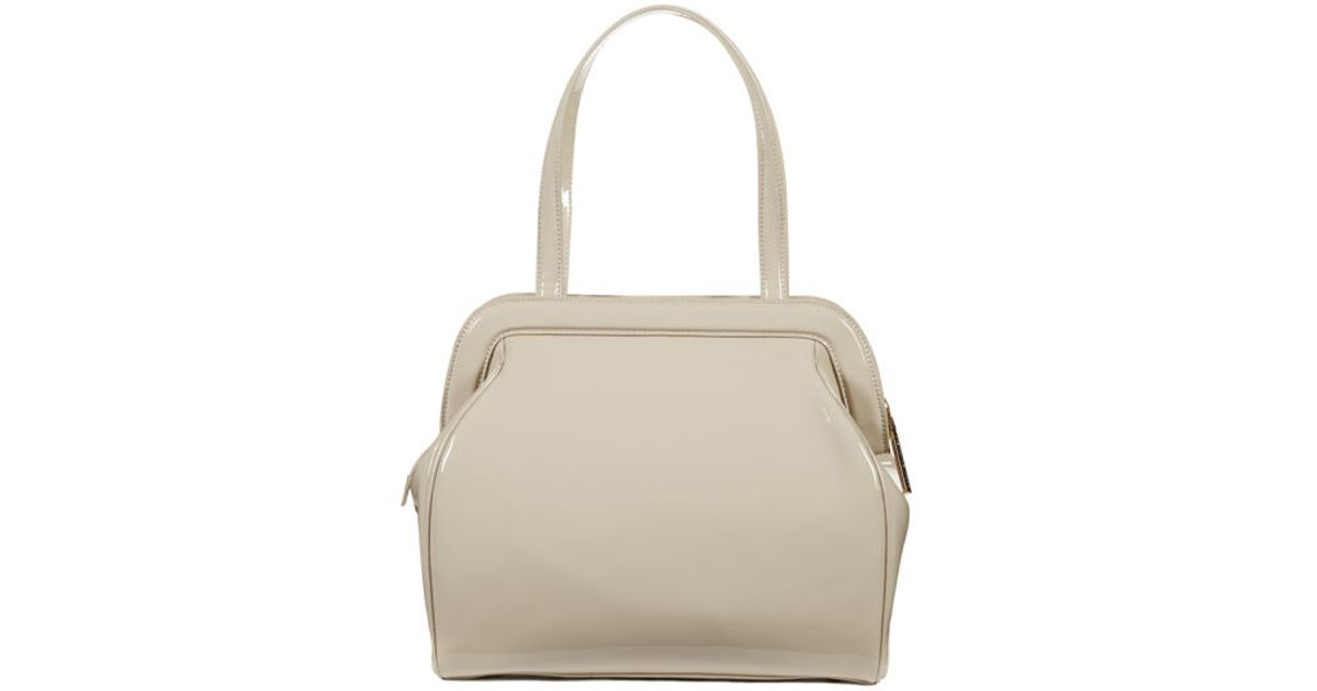c246bb5b45 Lulu Guinness Paula Patent Leather Large Tote Bag in Natural - Lyst