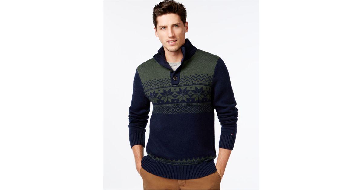 Tommy hilfiger Arthur Fair Isle Mock-neck Sweater in Blue for Men ...