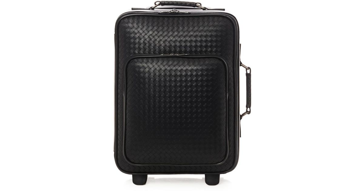 Bottega veneta Intrecciato Leather Trolley Suitcase in Black for ...