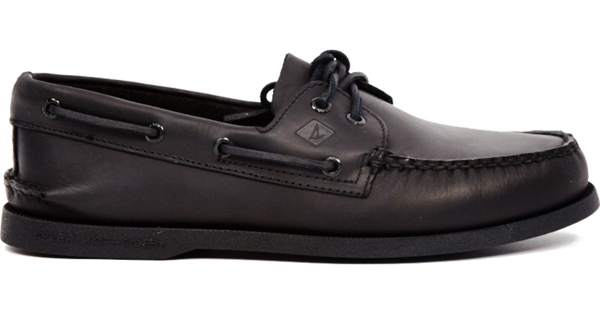 Sperry top-sider All Black Leather Boat Shoe in Black for ...