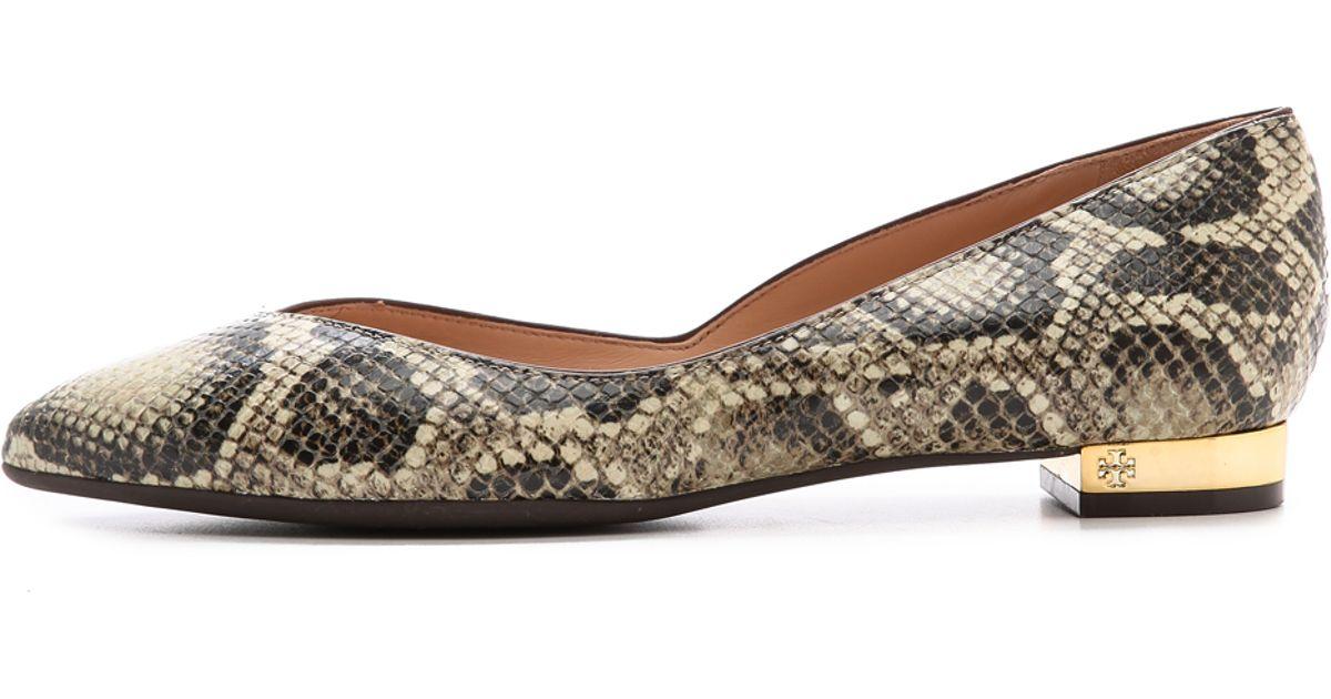 9c3f01206536 Lyst - Tory Burch Nicki Snake Print Flats Naturaljava