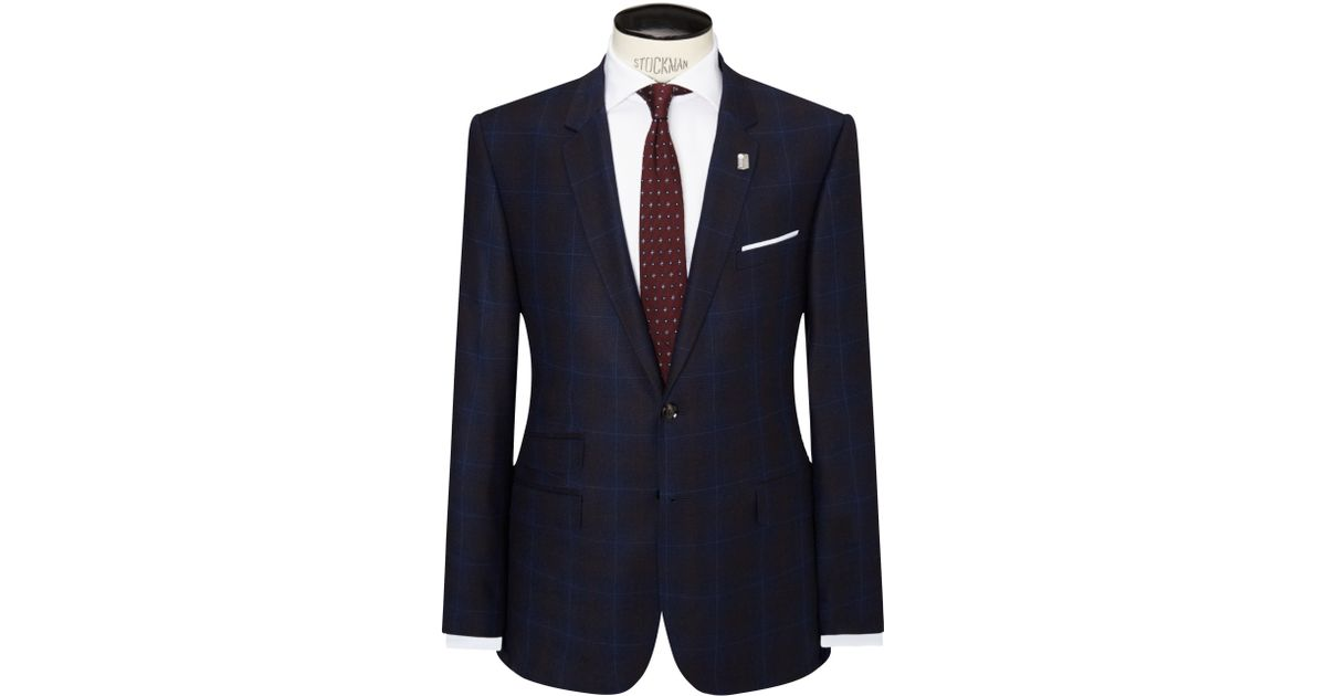 370873bf7e473 Ted Baker Modbox Prince Of Wales Check Modern Fit Suit Jacket in Blue for  Men - Lyst