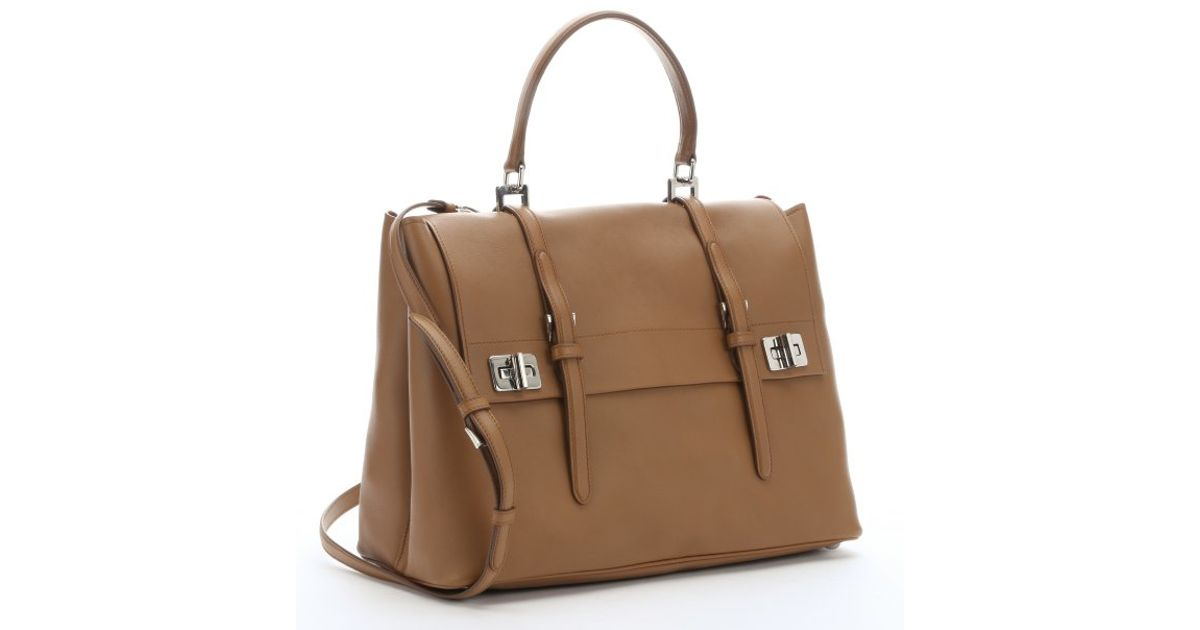 6df95591563a ... cheap lyst prada caramel leather buckle accent convertible top handle  bag in brown 0c129 78c2c ...