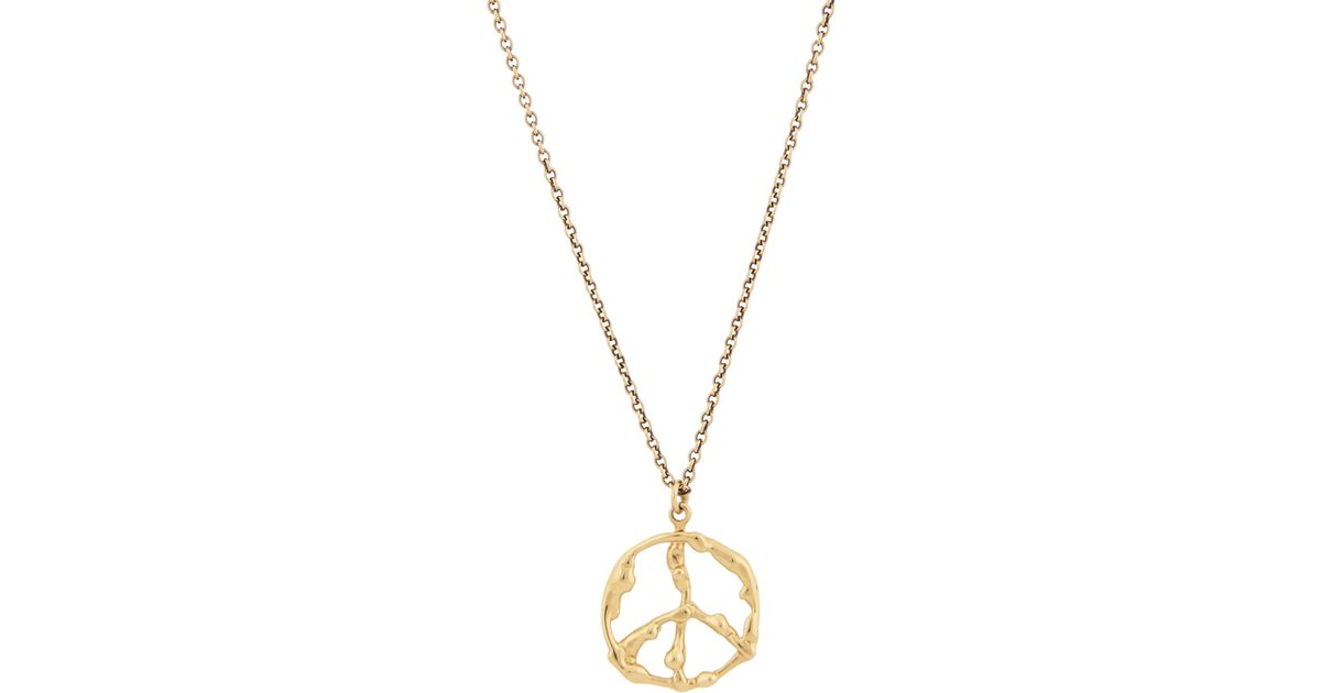 Lyst dean harris gold peace sign pendant necklace in metallic aloadofball Images