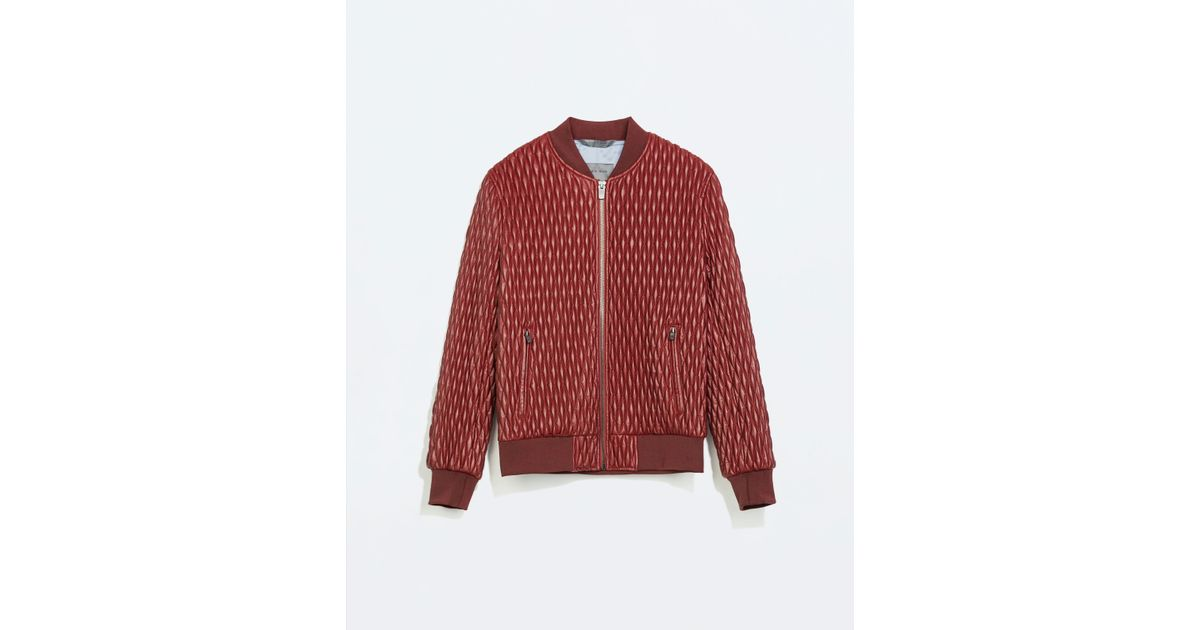 Zara Quilted Faux Leather Bomber Jacket In Red For Men Lyst