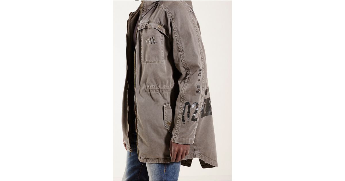true religion military parka mens jacket in green for men. Black Bedroom Furniture Sets. Home Design Ideas