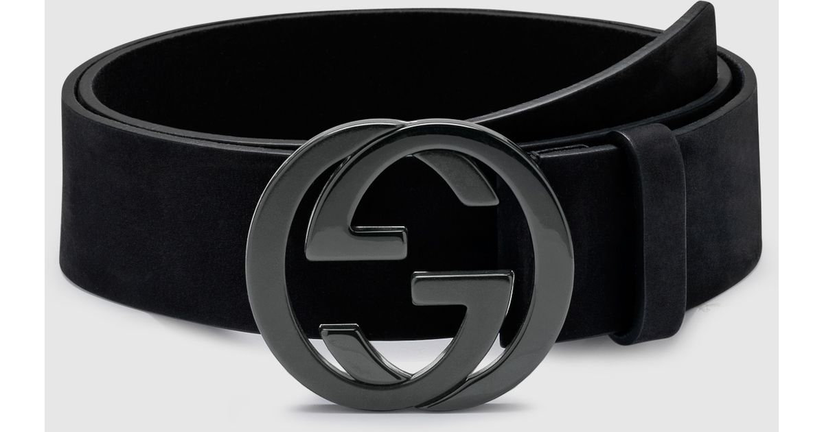 ca5bc9eae Gucci Black Suede Belt With Interlocking G Buckle in Black for Men - Lyst