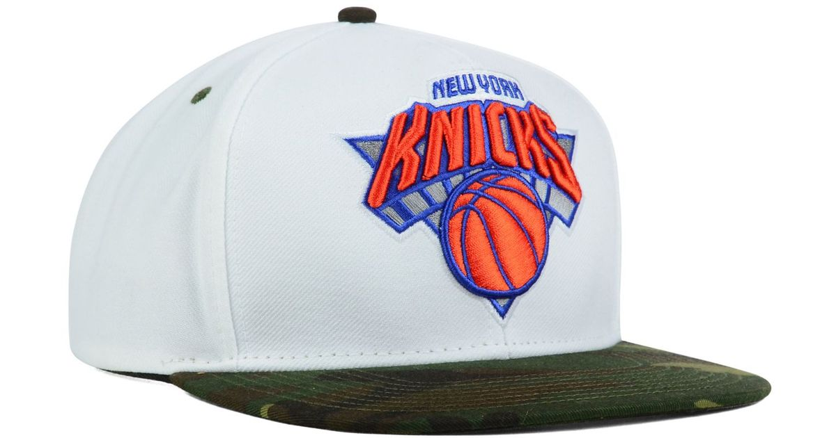 806a49fbc5a85 Lyst - adidas New York Knicks White Camo Snapback Cap in White for Men